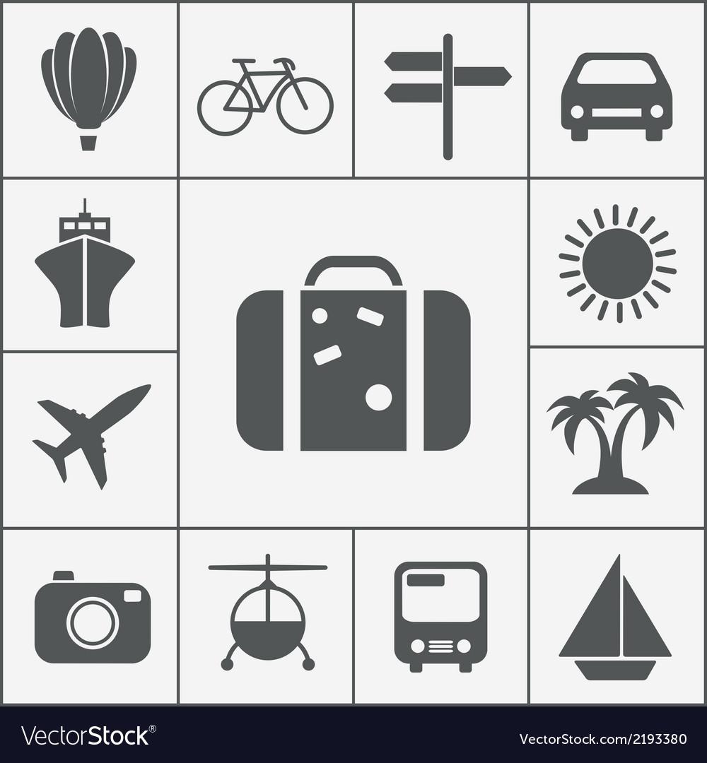 Silhouette travel icon set vector