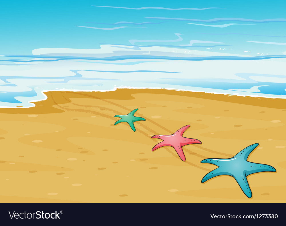 Three colorful starfishes in the beach vector | Price: 1 Credit (USD $1)