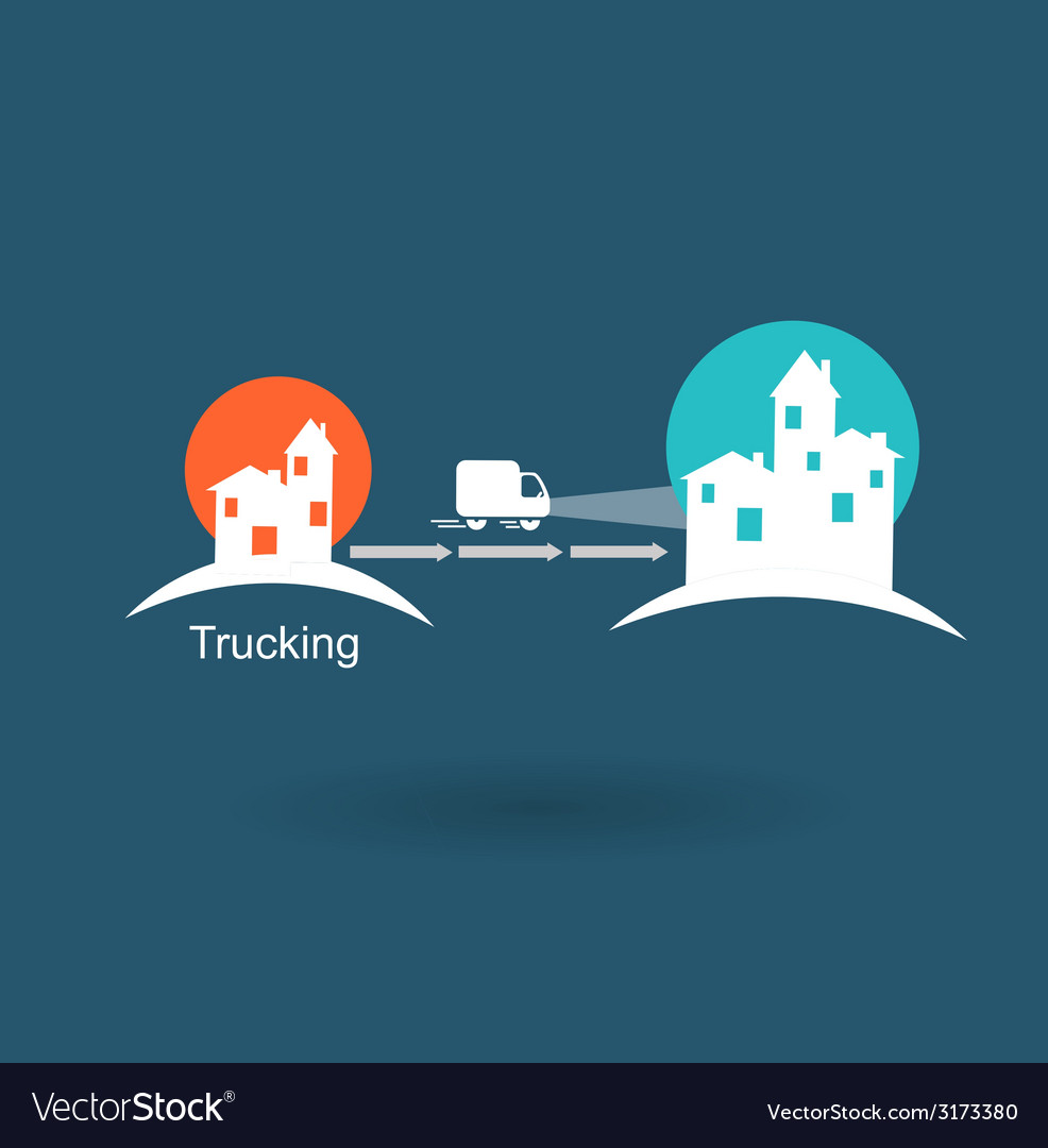 Trucking from one city to another icon vector | Price: 1 Credit (USD $1)