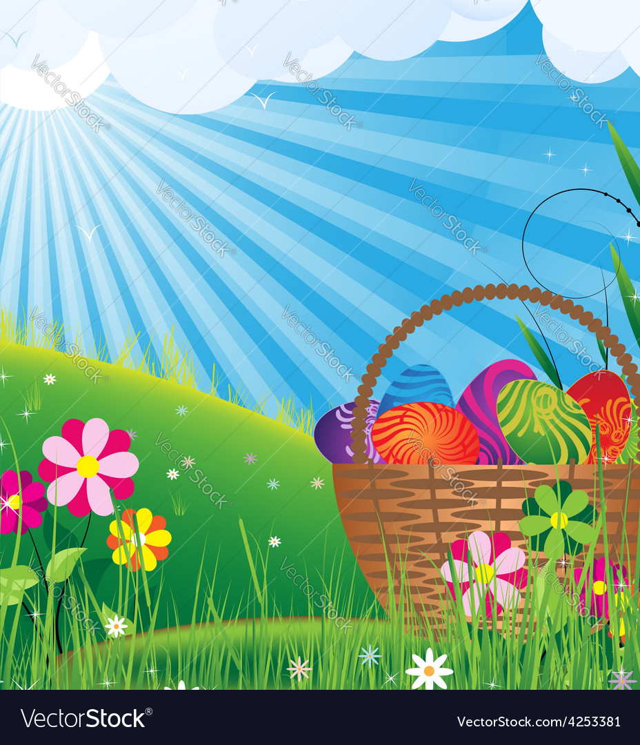 Basket with easter eggs on a green meadow vector | Price: 3 Credit (USD $3)