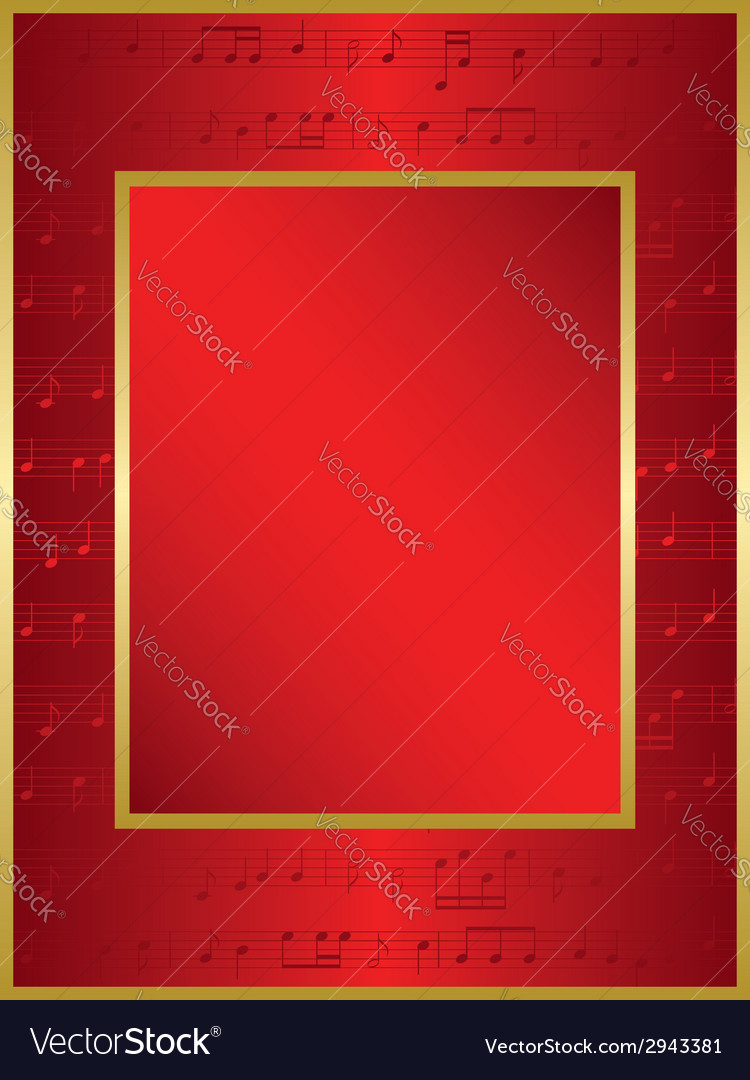 Bright red background with music notes vector | Price: 1 Credit (USD $1)