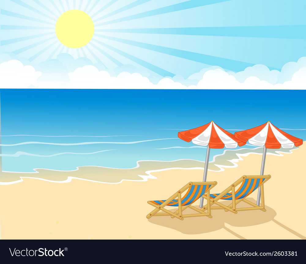 Cartoon beach chair and umbrella on tropical beach vector | Price: 1 Credit (USD $1)
