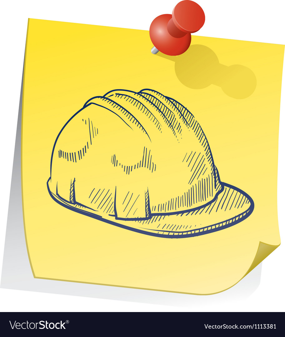 Doodle sticky note saftey hat vector | Price: 1 Credit (USD $1)