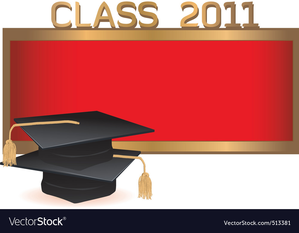 Graduation invitation card with mortars vector | Price: 1 Credit (USD $1)