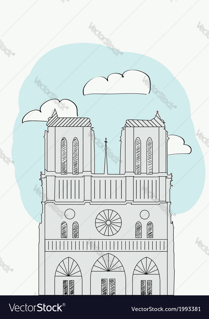 Notre dame cathedral paris france vector | Price: 1 Credit (USD $1)