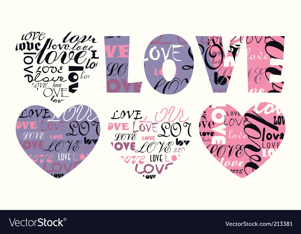 Valentine illustration heart with love vector | Price: 1 Credit (USD $1)