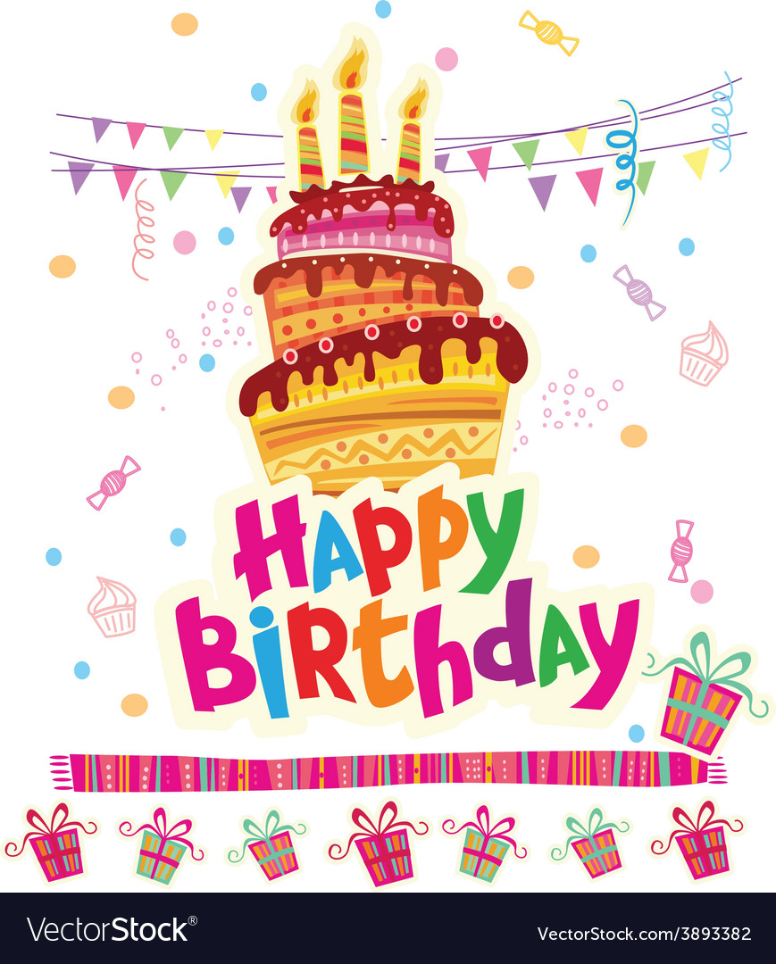 Birthday greeting card with cake vector | Price: 1 Credit (USD $1)