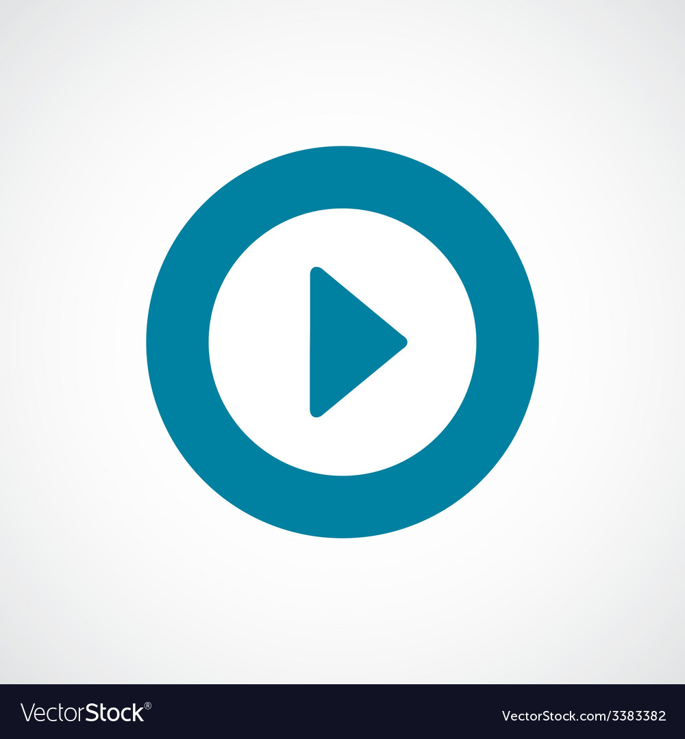 Play bold blue border circle icon vector | Price: 1 Credit (USD $1)
