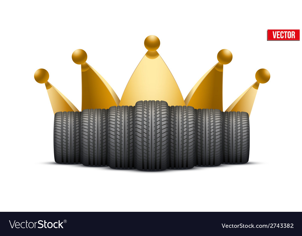 Realistic rubber tires banner with a golden crown vector | Price: 1 Credit (USD $1)