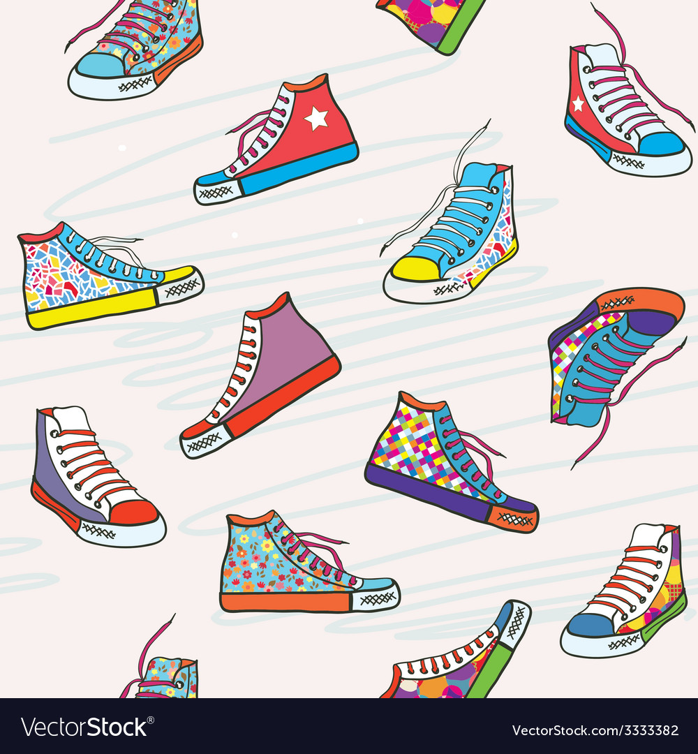 Seamless pattern with sneakers vector | Price: 1 Credit (USD $1)