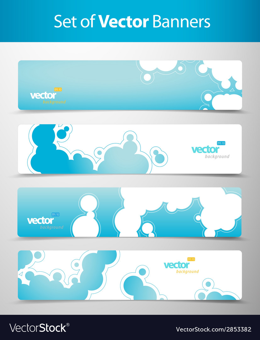 Set of abstract blue web headers vector