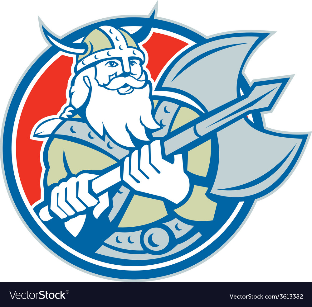 Viking raider barbarian warrior axe circle retro vector | Price: 1 Credit (USD $1)