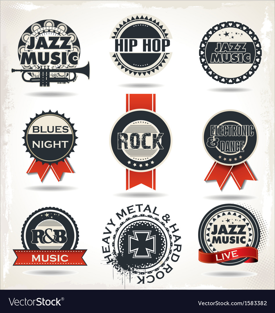 Vintage music labels vector | Price: 1 Credit (USD $1)