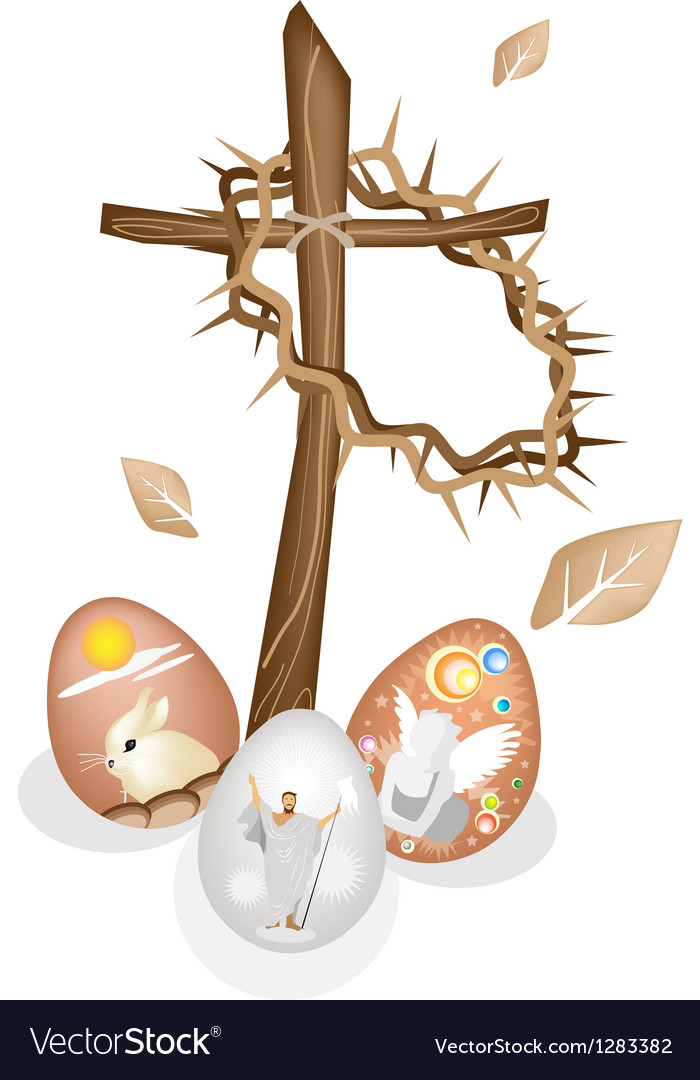 Wooden cross and a crown of thorns with easter egg vector | Price: 1 Credit (USD $1)