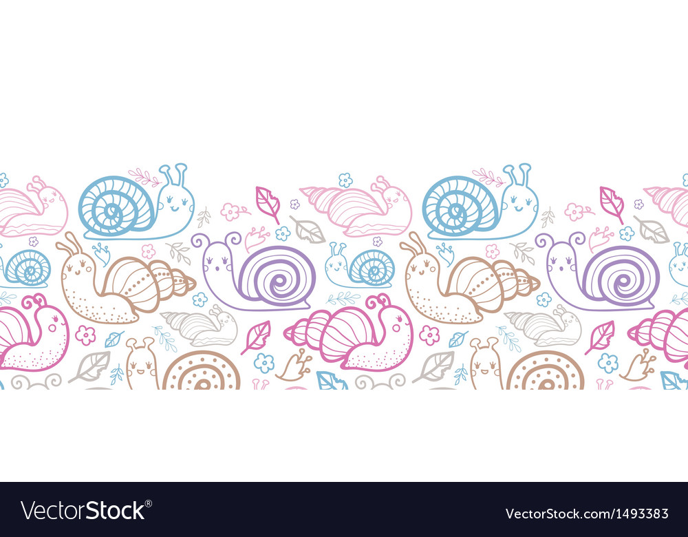 Cute smiling snails horizontal seamless pattern vector | Price: 1 Credit (USD $1)