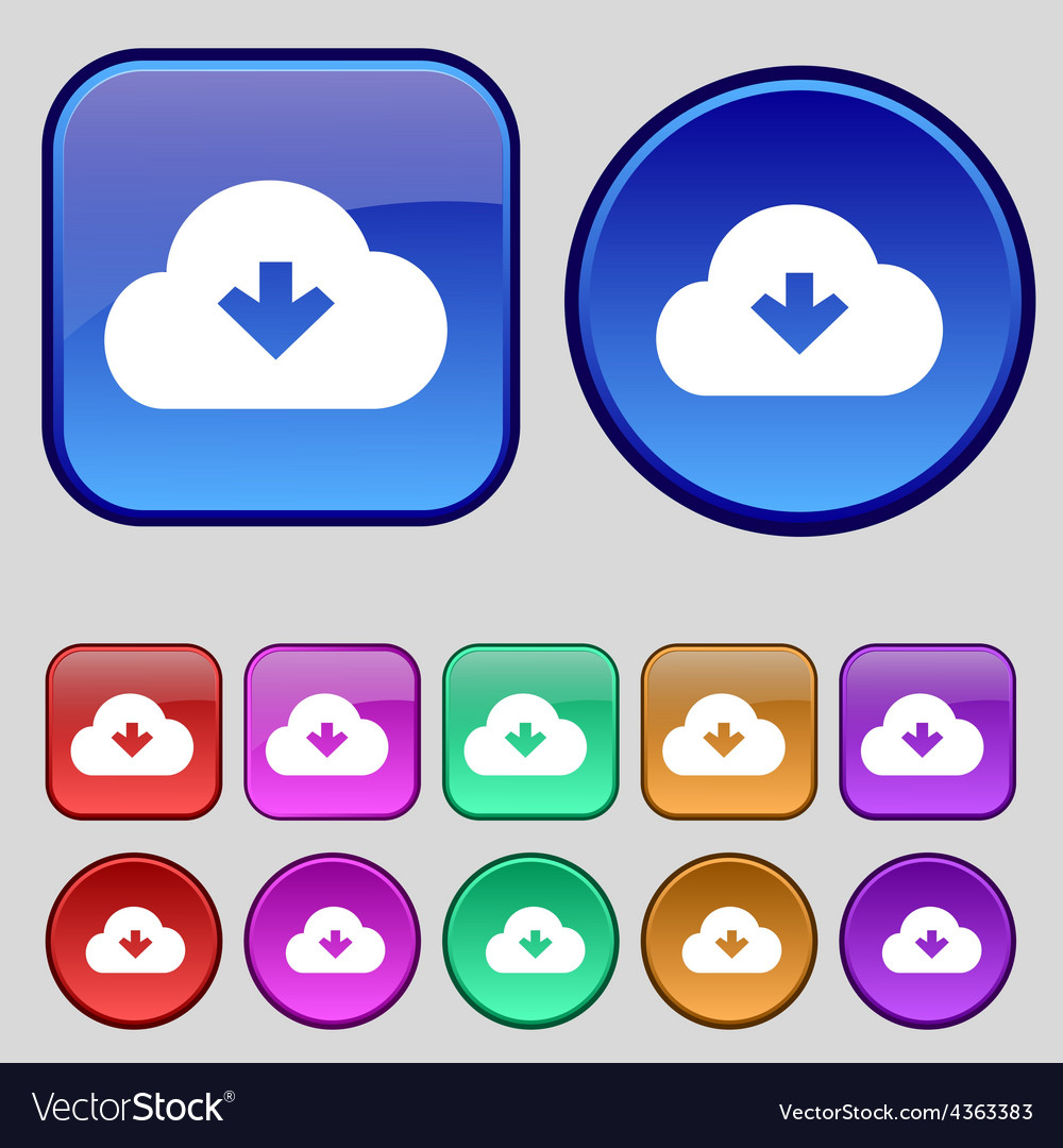 Download from cloud icon sign a set of twelve vector | Price: 1 Credit (USD $1)
