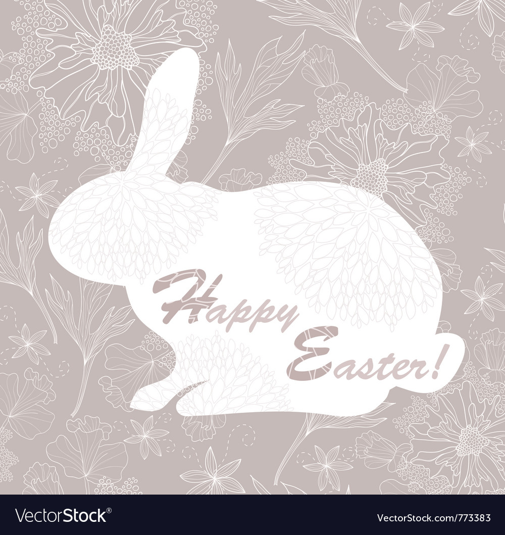 Easter rabbit easter card with floral pattern vector | Price: 1 Credit (USD $1)