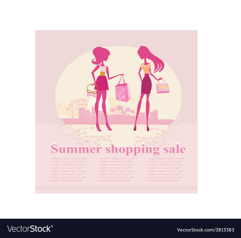 Fashion silhouettes girls shopping in the city - vector | Price: 1 Credit (USD $1)