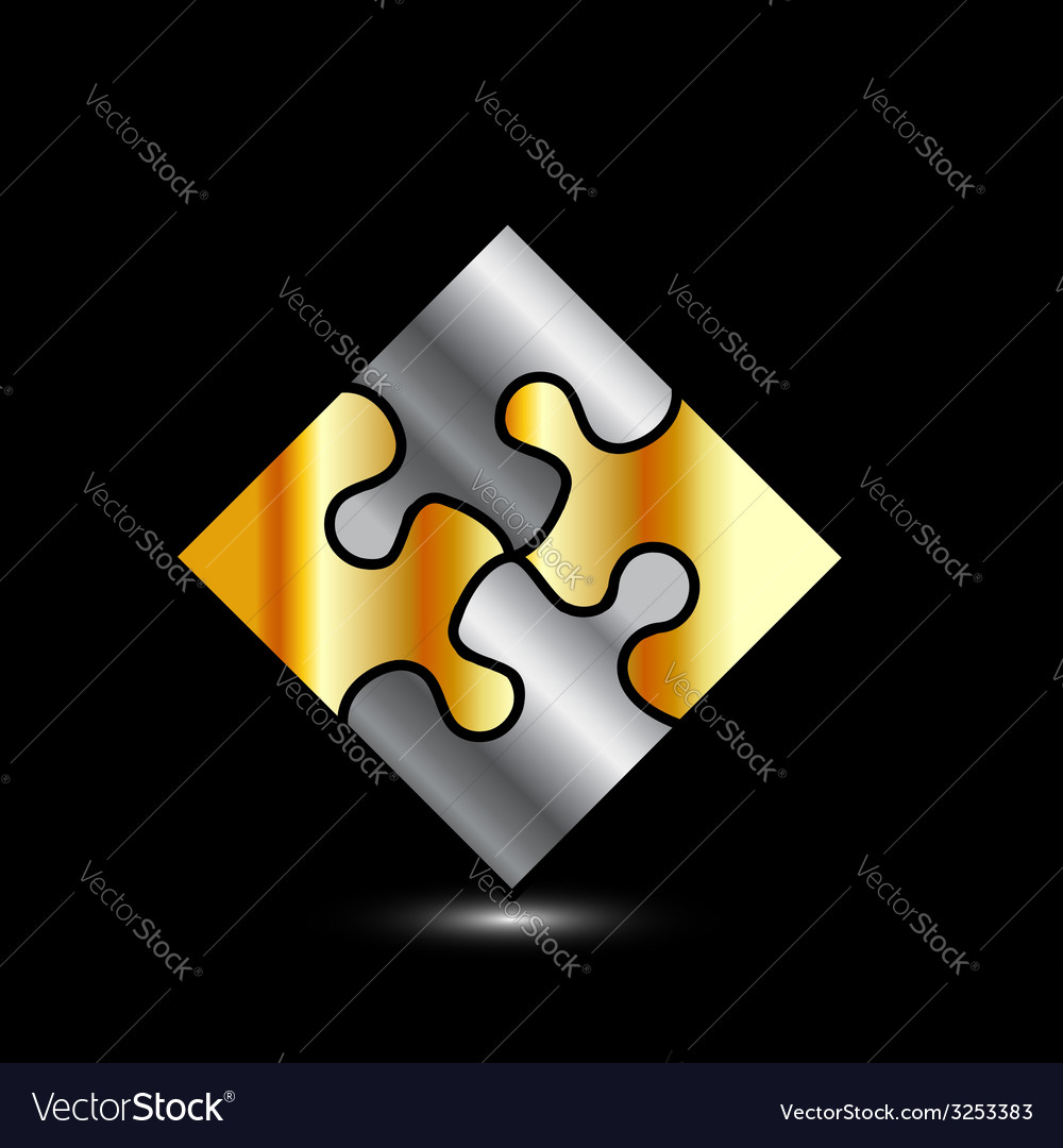 Gold and silver puzzle- corporate logo for busines vector | Price: 1 Credit (USD $1)