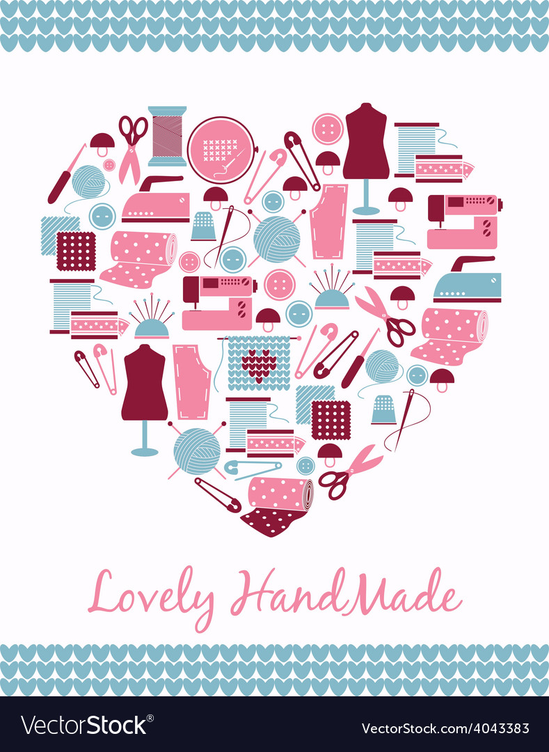 Lovely handmade heart shape sign of sewing vector | Price: 1 Credit (USD $1)