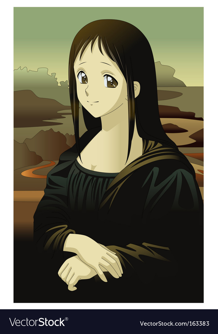 Mona lisa anime manga style vector | Price: 3 Credit (USD $3)