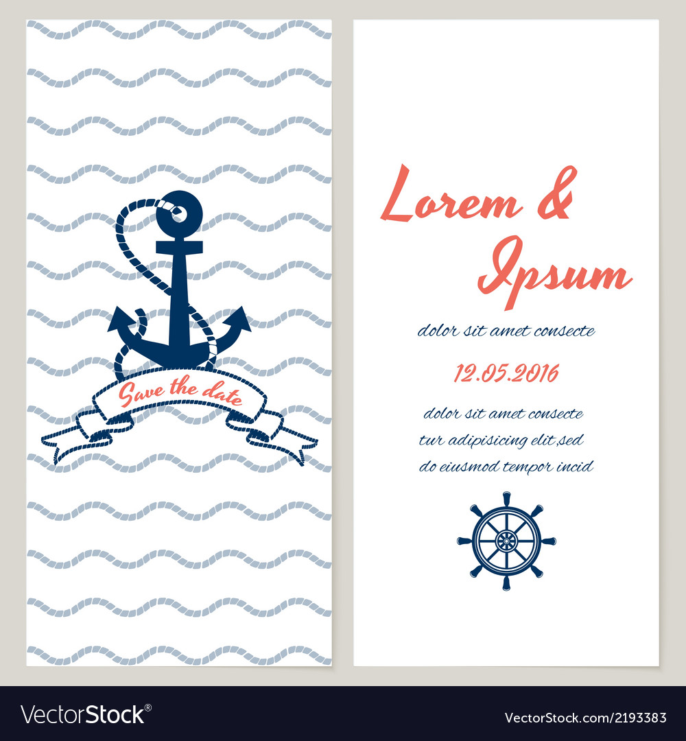 Nautical style wedding invitation vector | Price: 1 Credit (USD $1)
