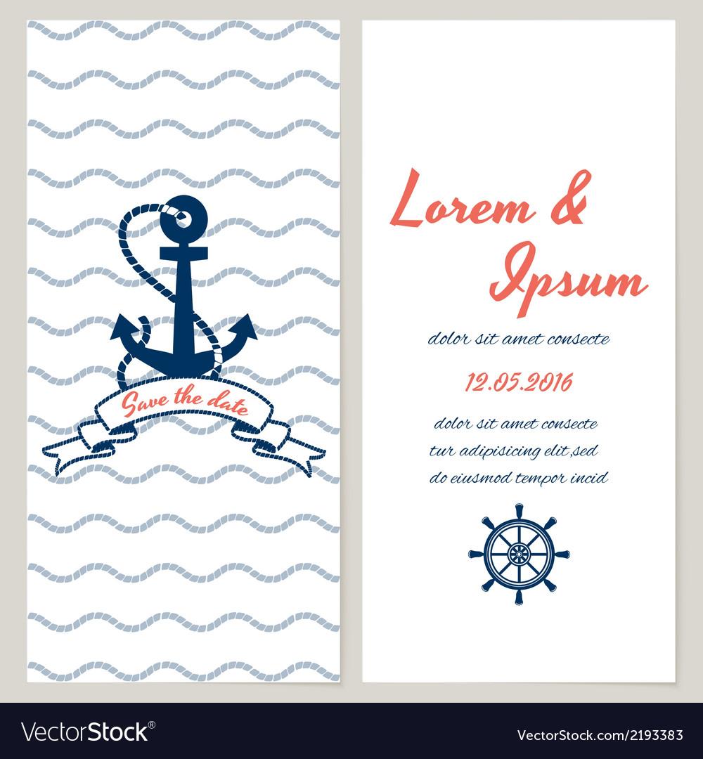 Nautical style wedding invitation vector | Price: 1 Credit (USD $1)