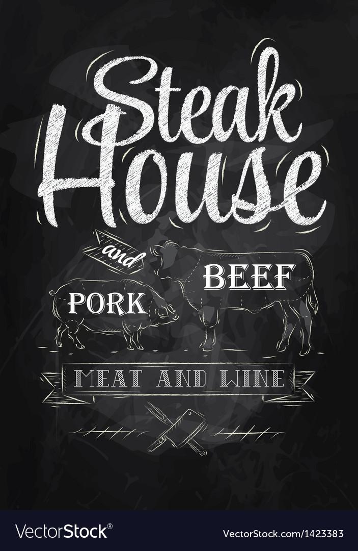 Poster steak house chalk vector | Price: 1 Credit (USD $1)