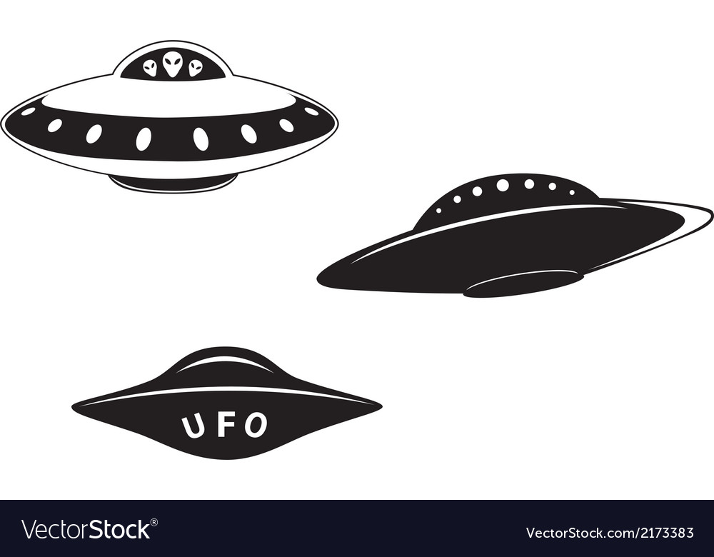 Set of alien flying saucers vector | Price: 1 Credit (USD $1)