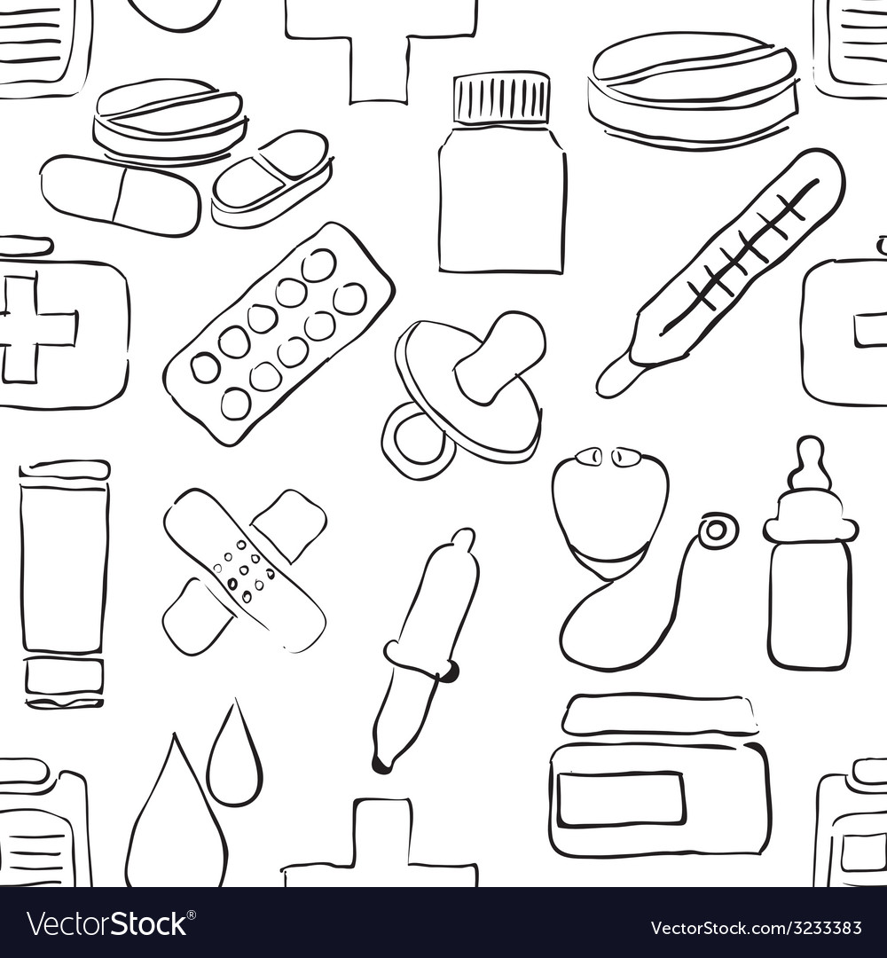 Sketch pharmacy seamless pattern vector | Price: 1 Credit (USD $1)