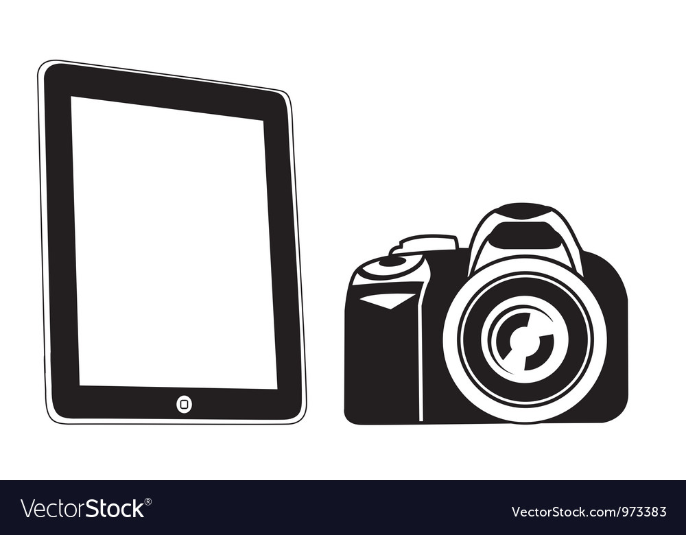 Tablet and camera black vector | Price: 1 Credit (USD $1)