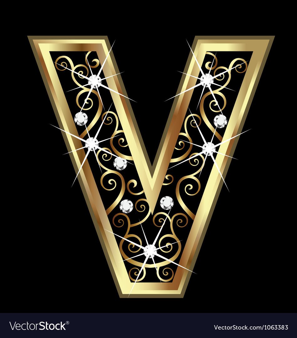 V gold letter with swirly ornaments vector | Price: 1 Credit (USD $1)