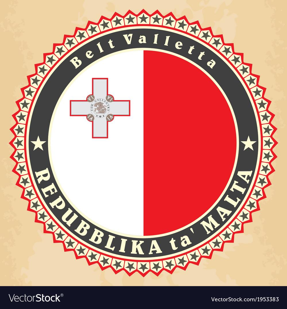 Vintage label cards of malta flag vector | Price: 1 Credit (USD $1)