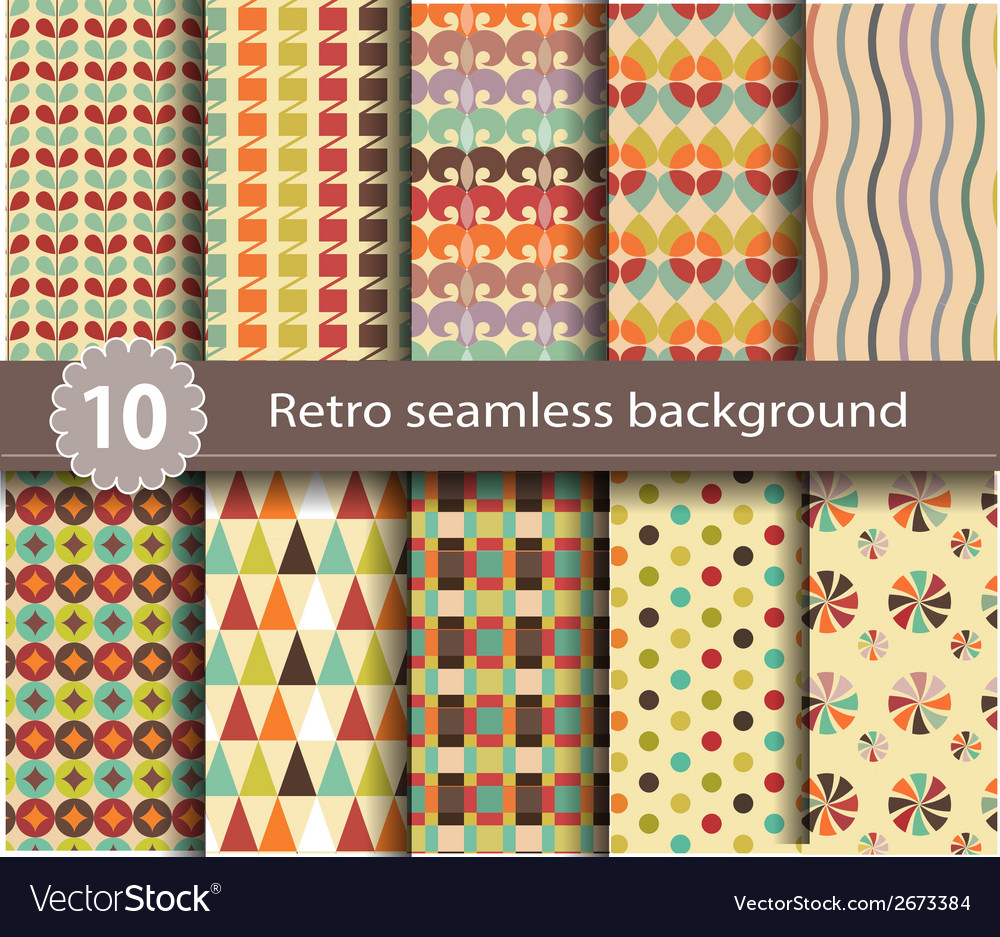 10 retro seamless background vector | Price: 1 Credit (USD $1)