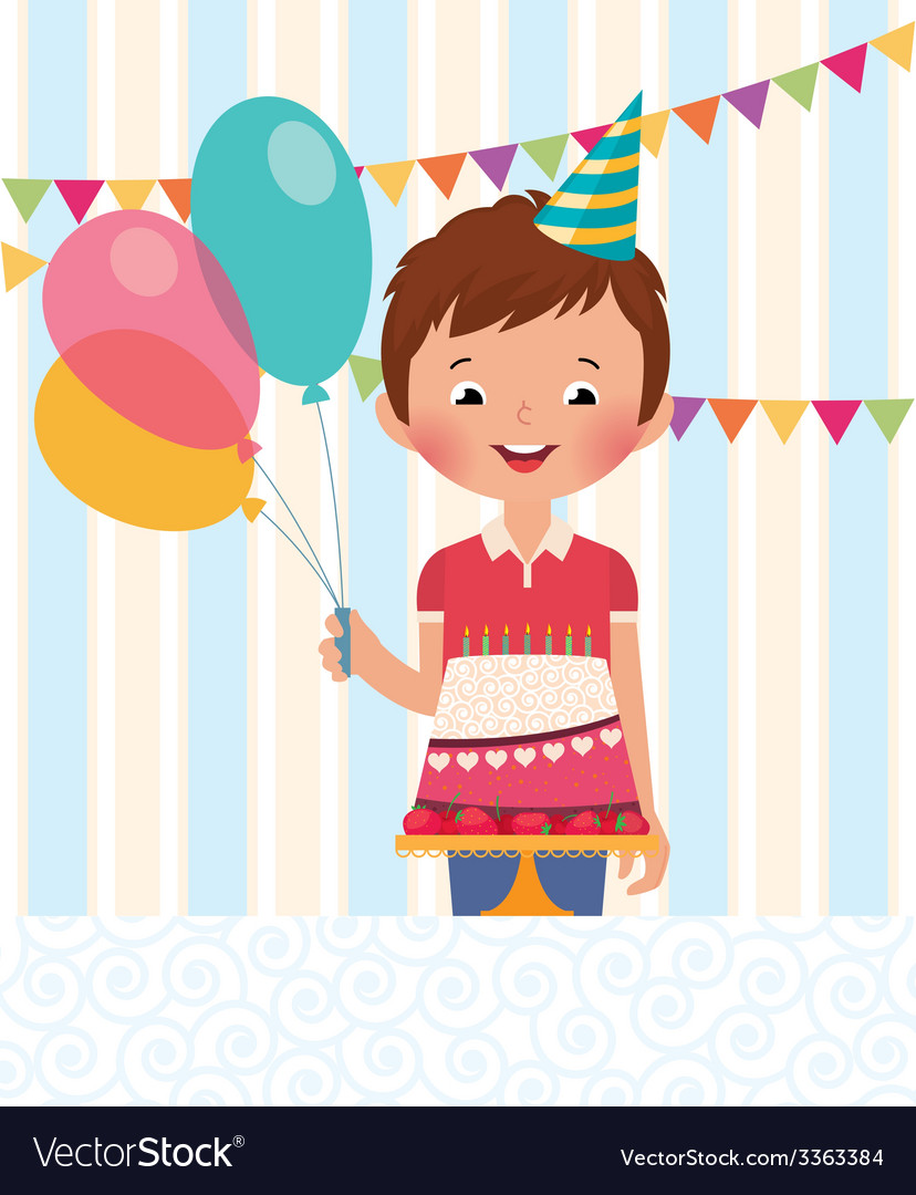 Boy celebrating his birthday vector | Price: 1 Credit (USD $1)