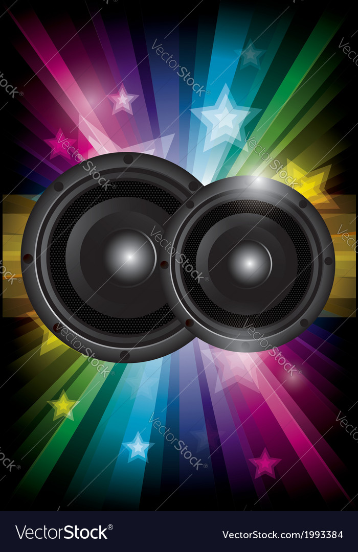 Disco club flyer with black speaker vector | Price: 1 Credit (USD $1)