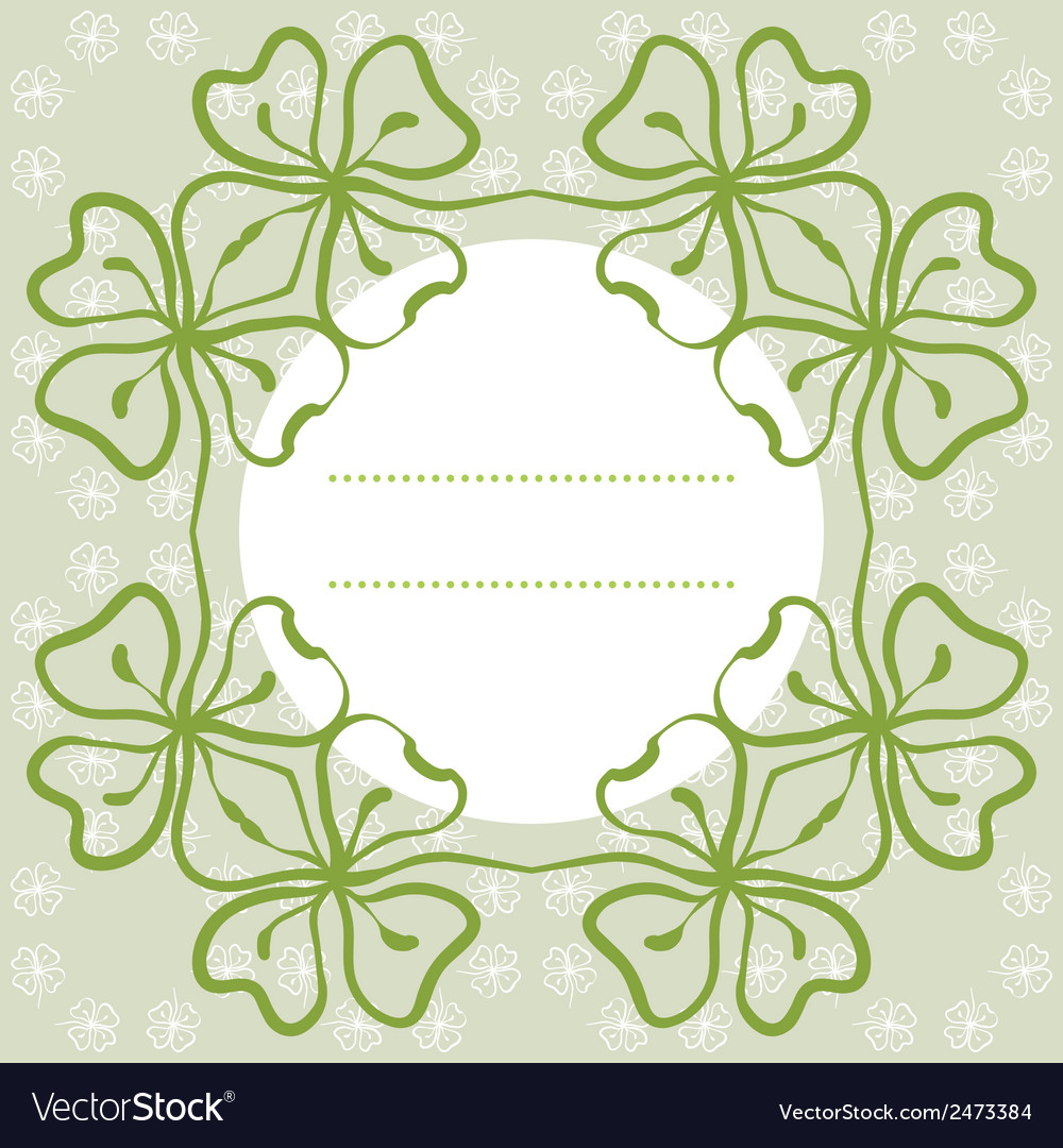 Flower background with clover and place for text vector | Price: 1 Credit (USD $1)