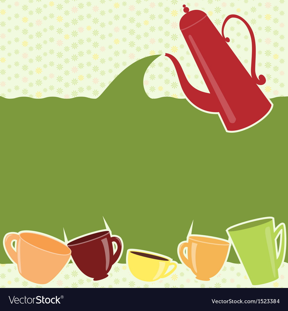 Greeting card with teapot and cups vector | Price: 1 Credit (USD $1)