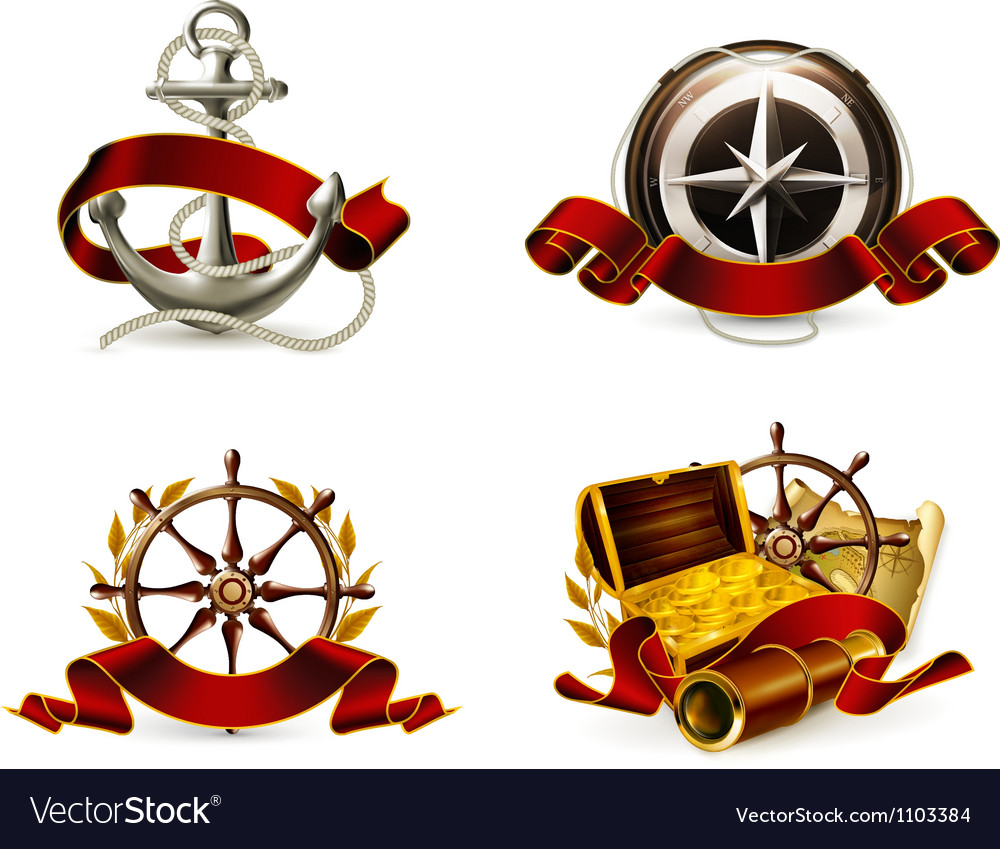 Marine emblem set vector | Price: 3 Credit (USD $3)