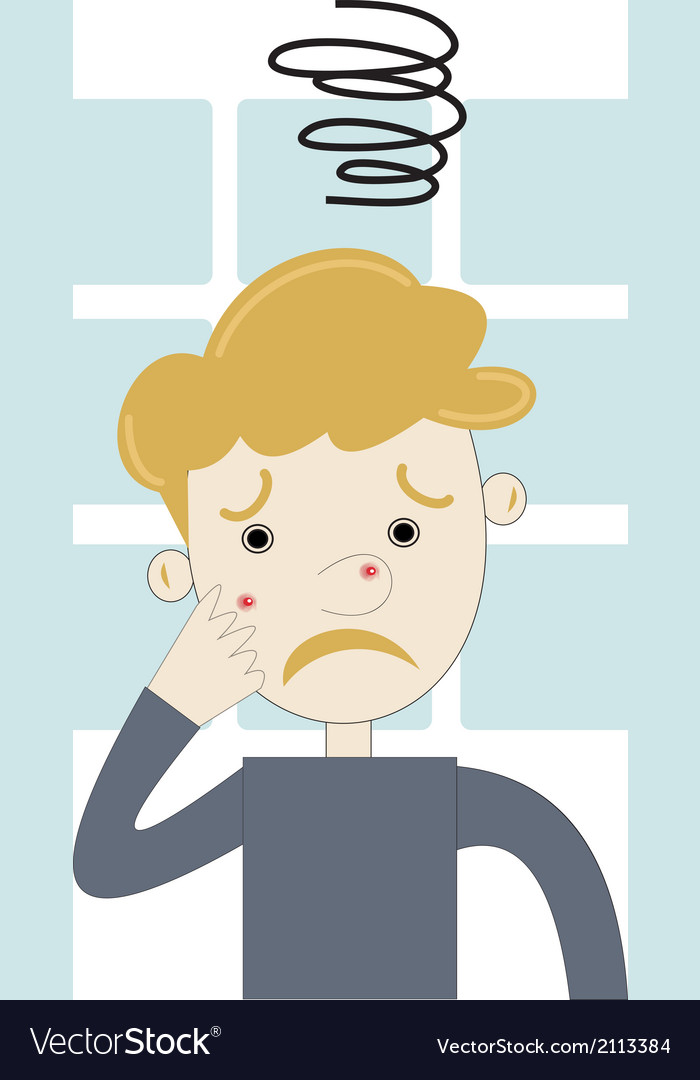 Teenager boy angry with acne vector | Price: 1 Credit (USD $1)