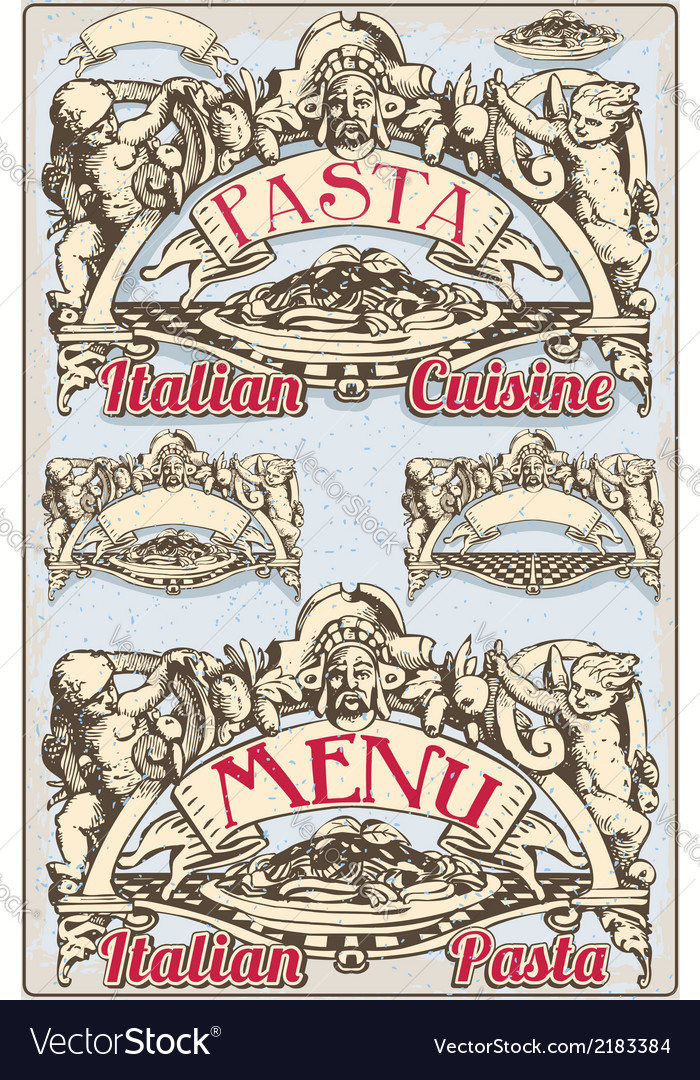 Vintage graphic element for italian pasta menu vector | Price: 1 Credit (USD $1)