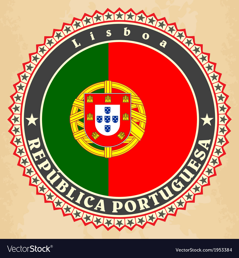 Vintage label cards of portugal flag vector | Price: 1 Credit (USD $1)