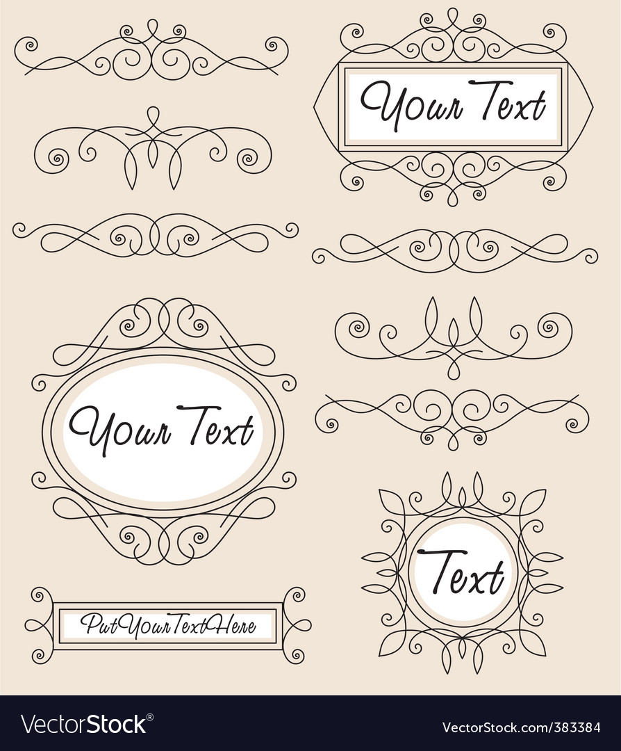 Vintage ornament set vector | Price: 1 Credit (USD $1)
