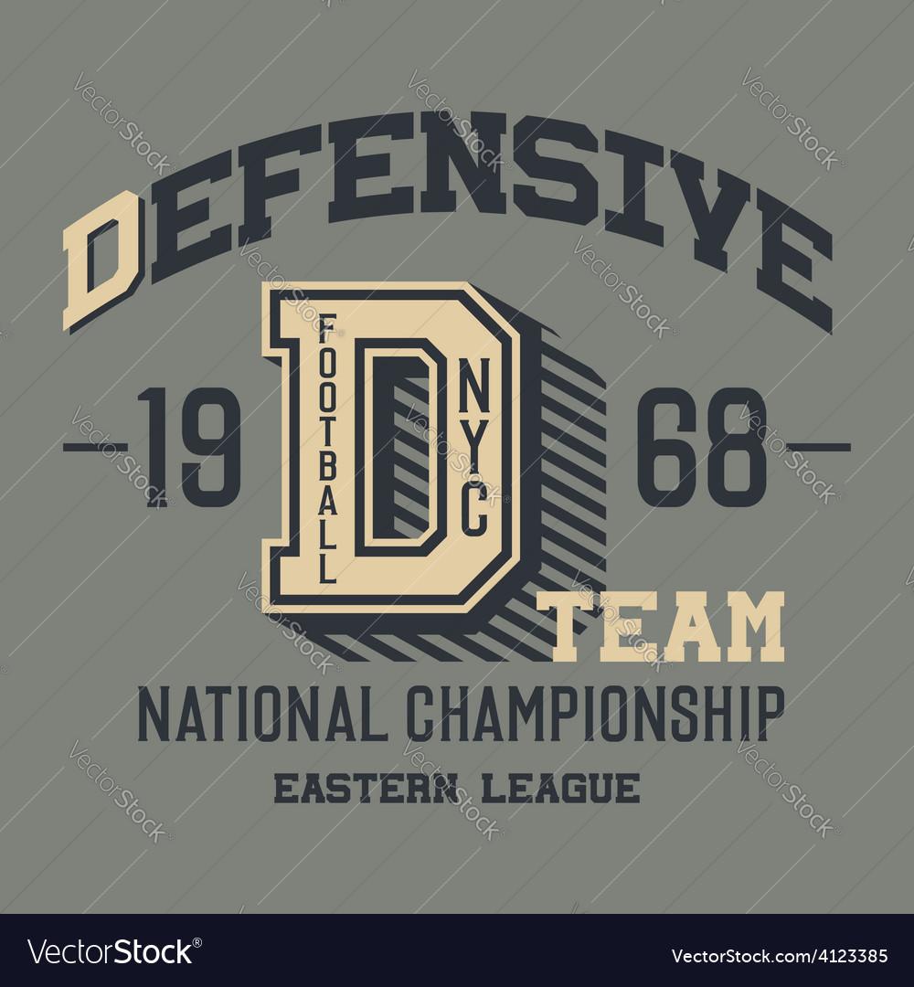Defensive football team t-shirt vector | Price: 1 Credit (USD $1)