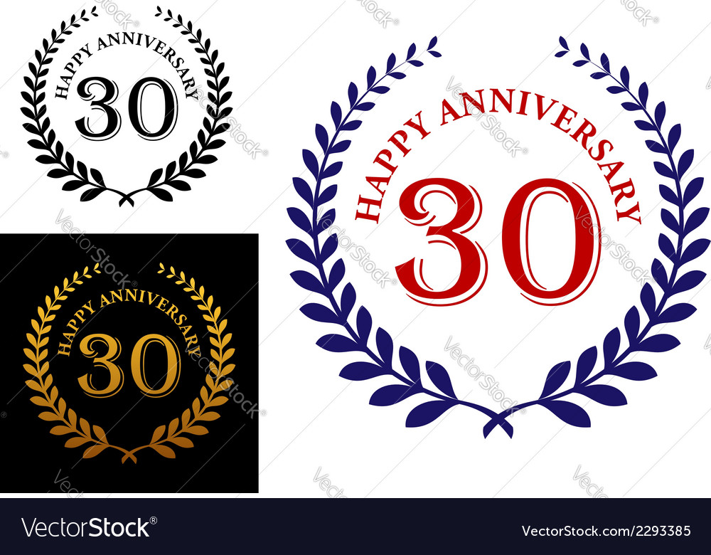 Happy 30th anniversary emblem vector | Price: 1 Credit (USD $1)