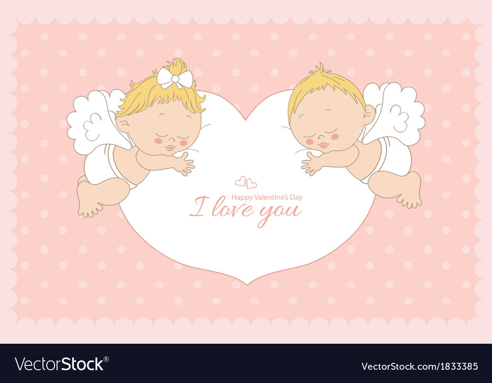 I love you card with two cupids horizontal vector | Price: 1 Credit (USD $1)