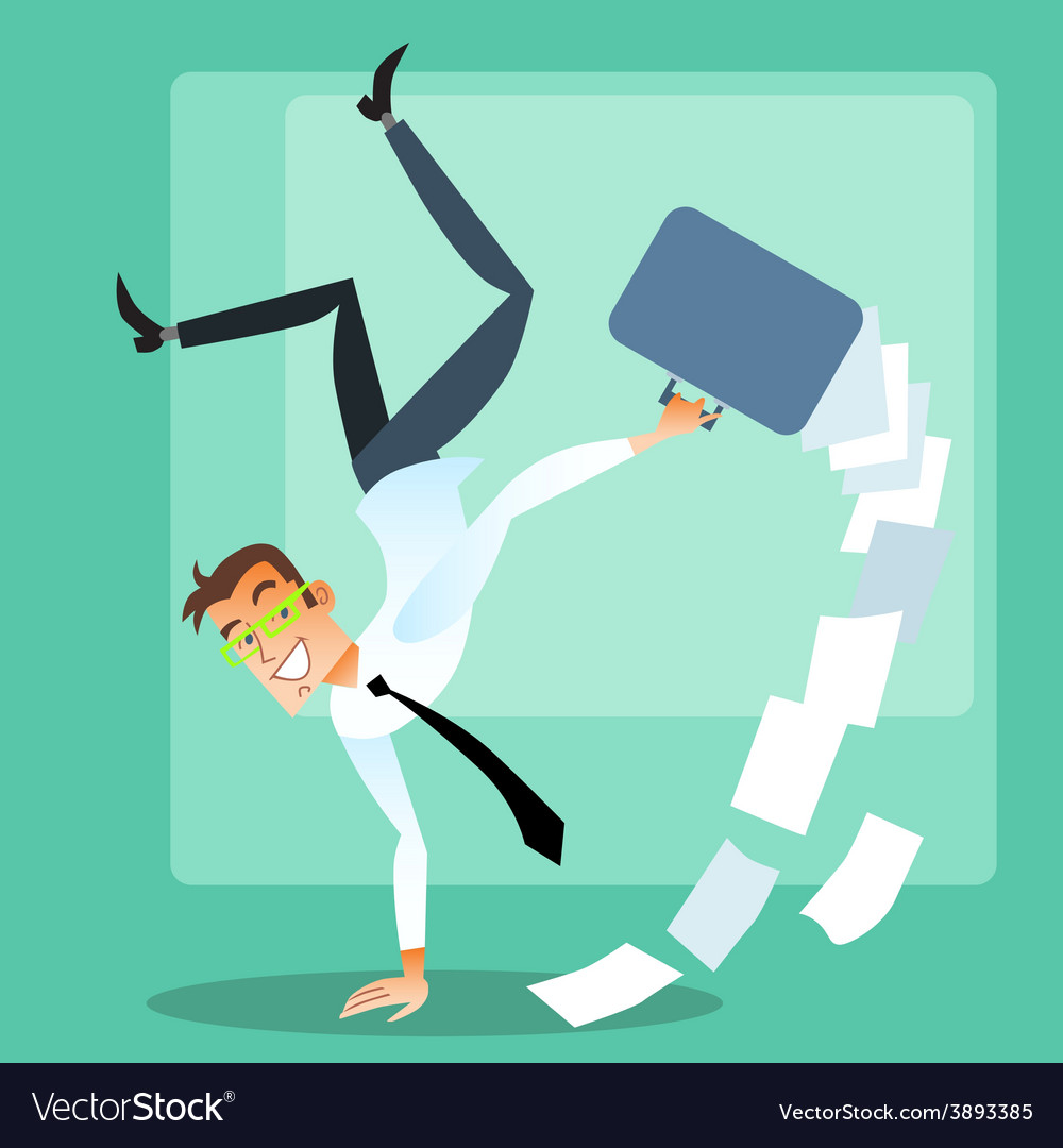 Joyful businessman doing handstand vector | Price: 1 Credit (USD $1)
