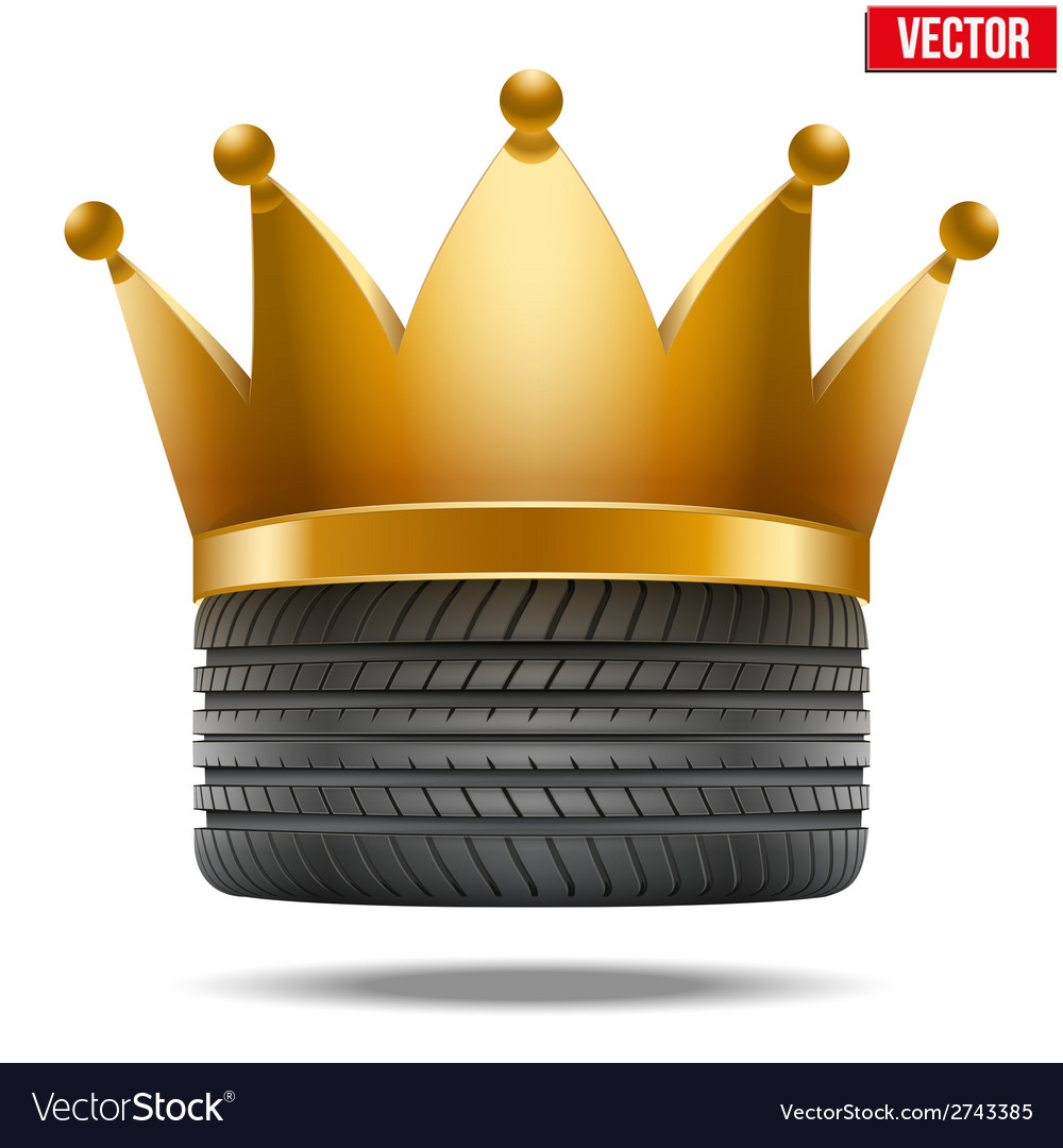 Realistic rubber tire with a golden crown vector | Price: 1 Credit (USD $1)