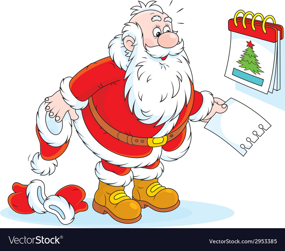 Santa claus and a tear-off calendar vector   Price: 1 Credit (USD $1)