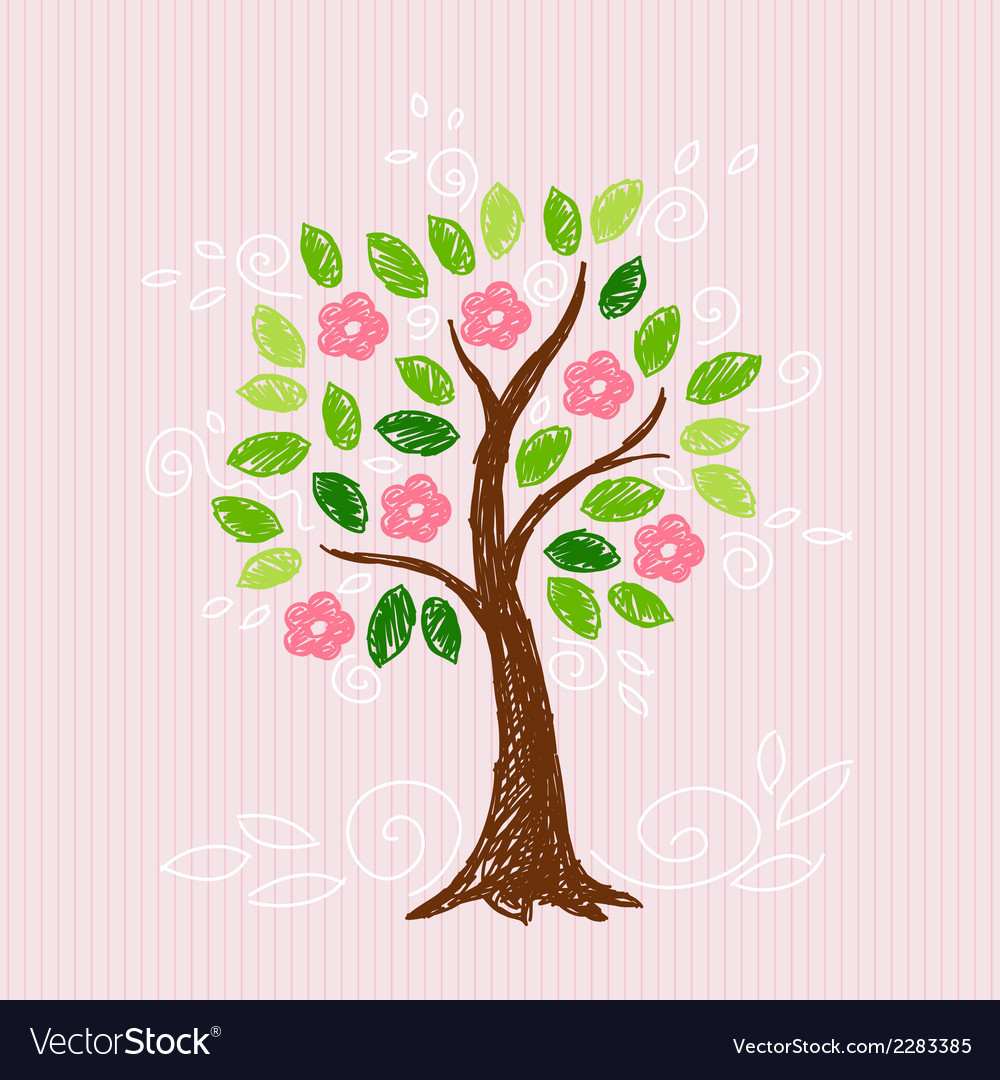 Tree with pink flower vector | Price: 1 Credit (USD $1)